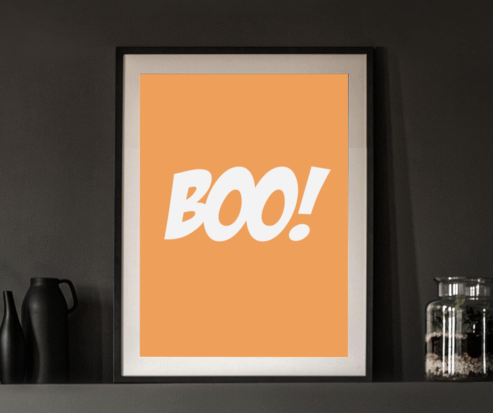Boo! Orange and white Halloween poster