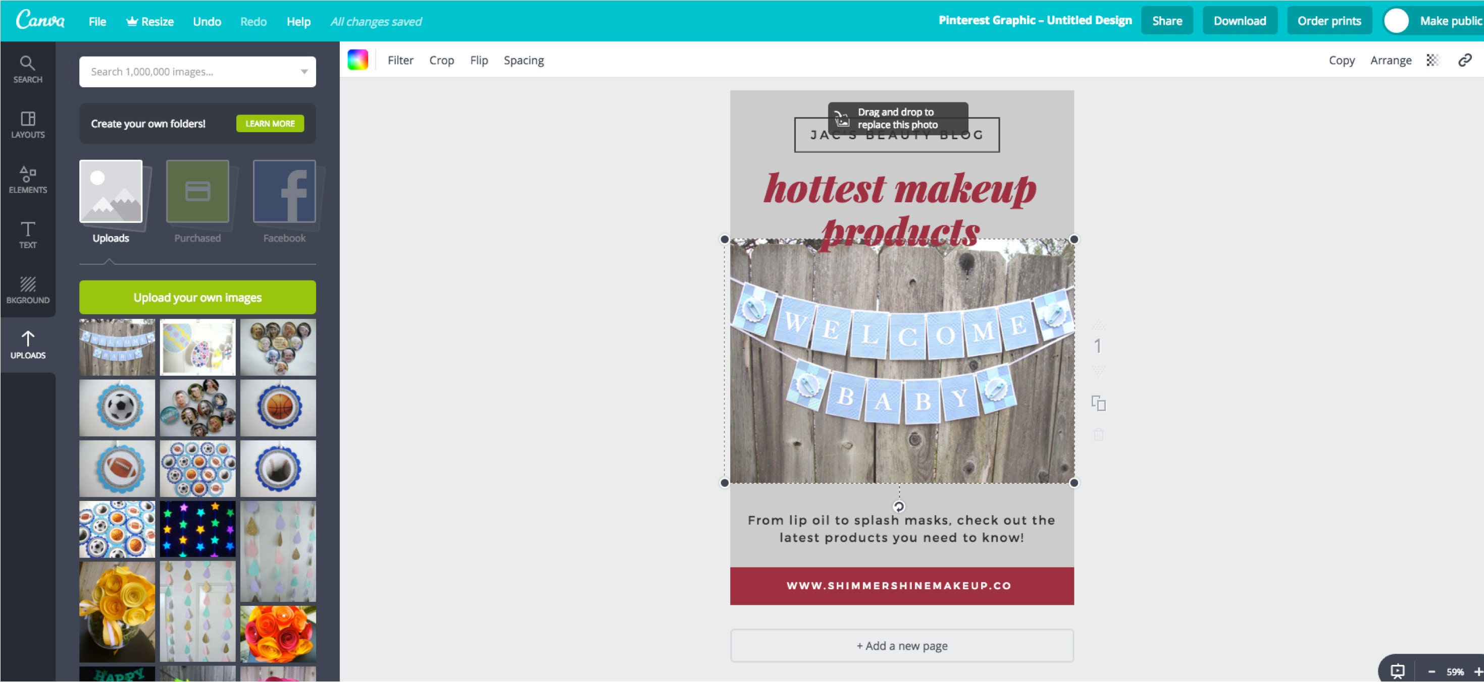 Upload your own image to a Canva layout design