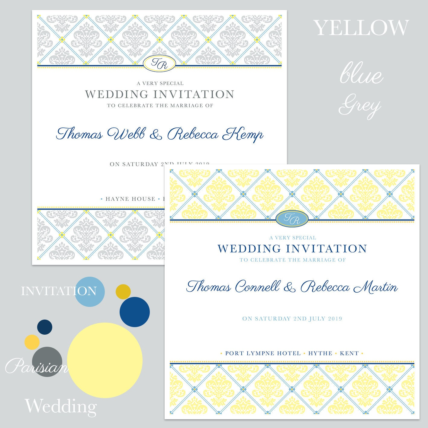 Yellow, blue and grey wedding invitations
