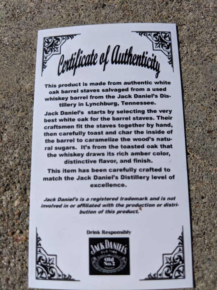 jack daniels pen certificate of authenticity