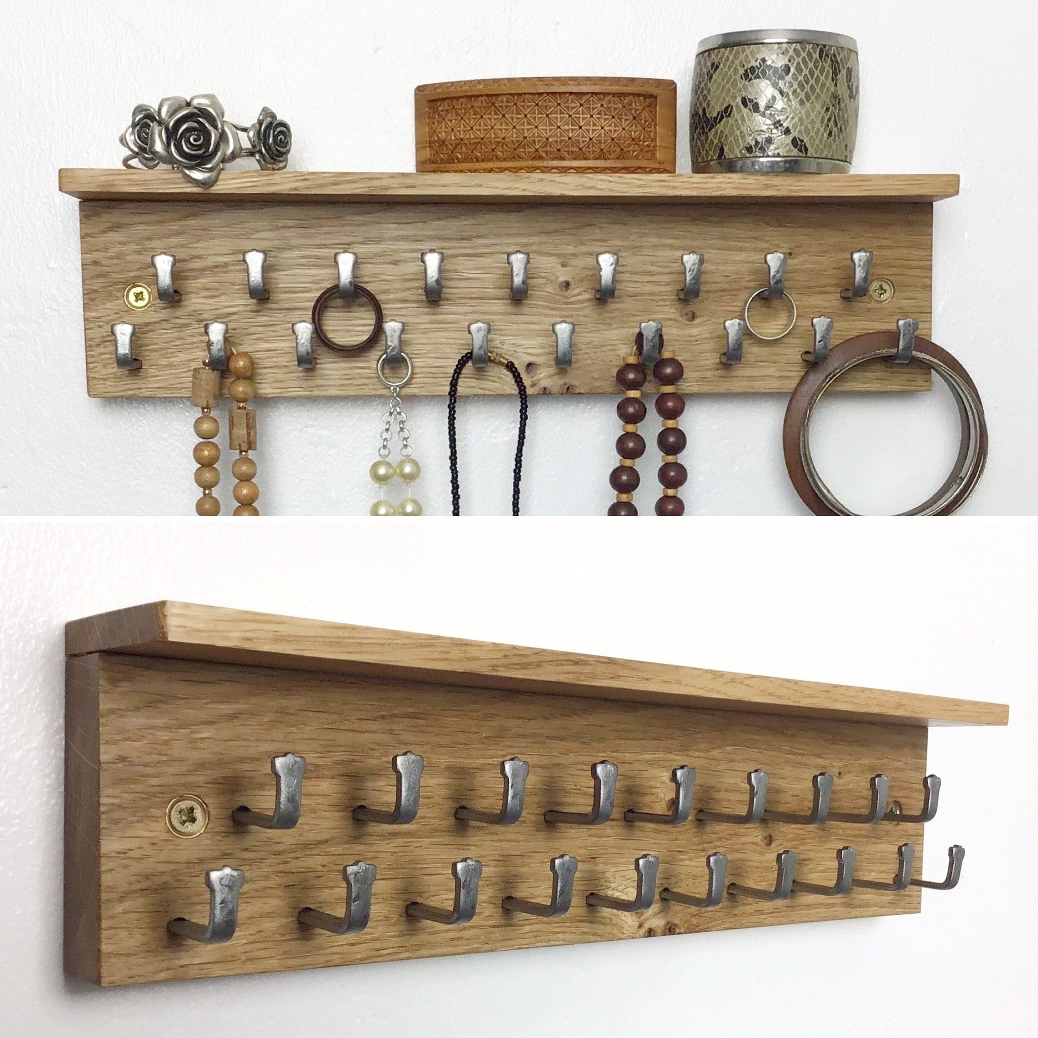 Light Oak jewellery Display Rack with shelf by gorlech UK
