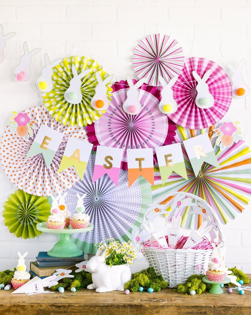 Easter banner in spring colors with bunny garland