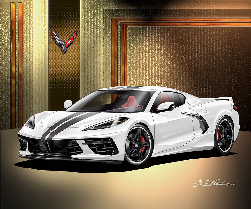 C8 Corvette art by Danny Whitfield - White