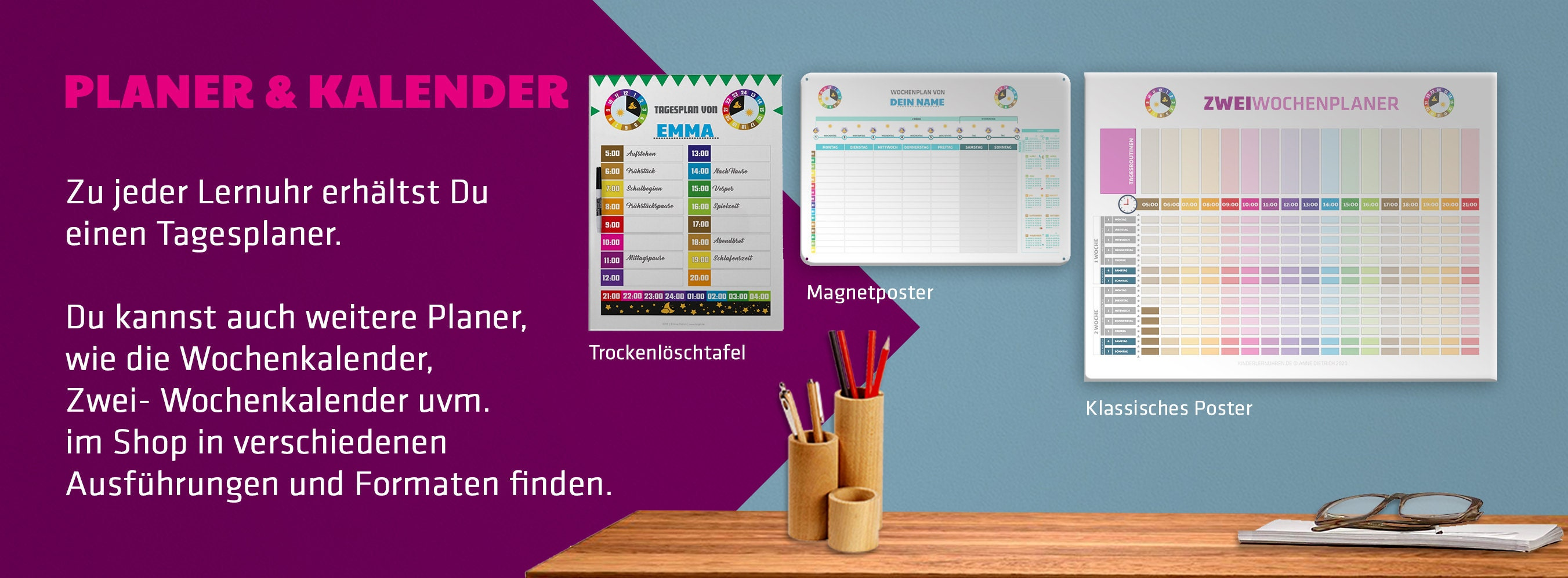 Die Planer und Kalender zu den Lernuhren