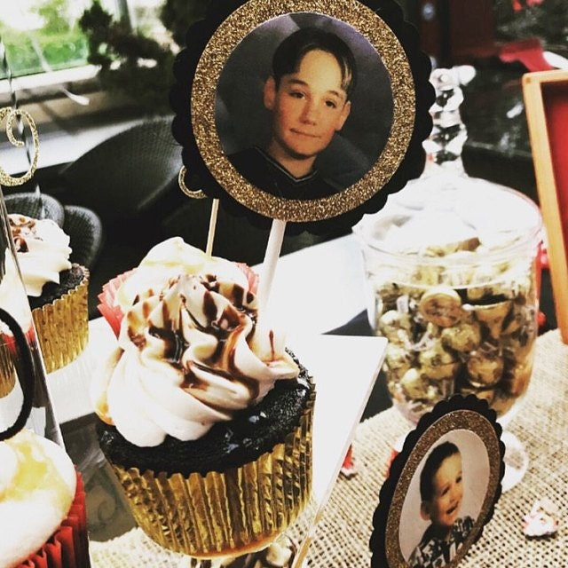 black and glitter gold cupcake toppers with picture of a boy in cupcakes
