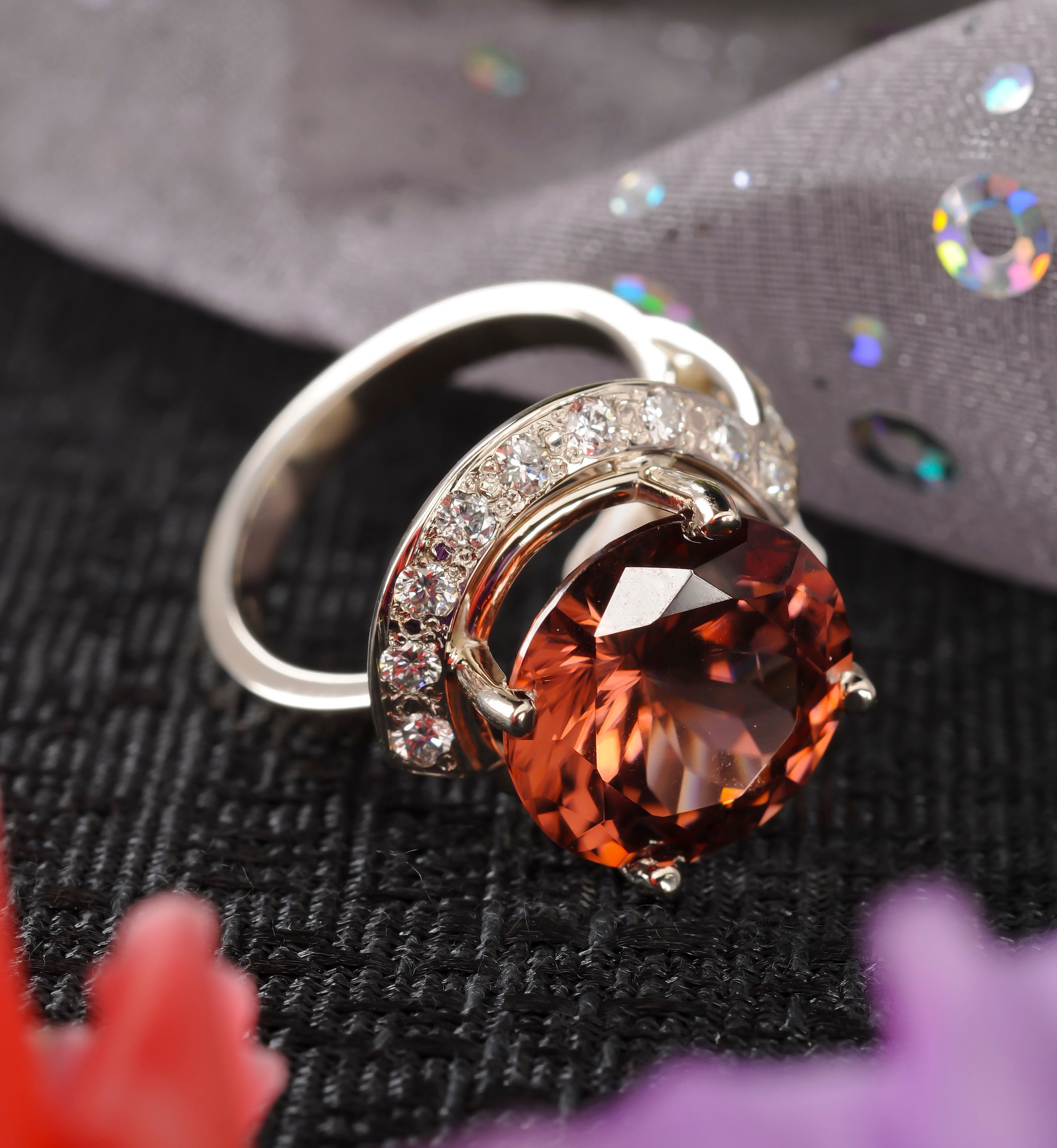 large natural zircon gemstone and diamond cocktail ring