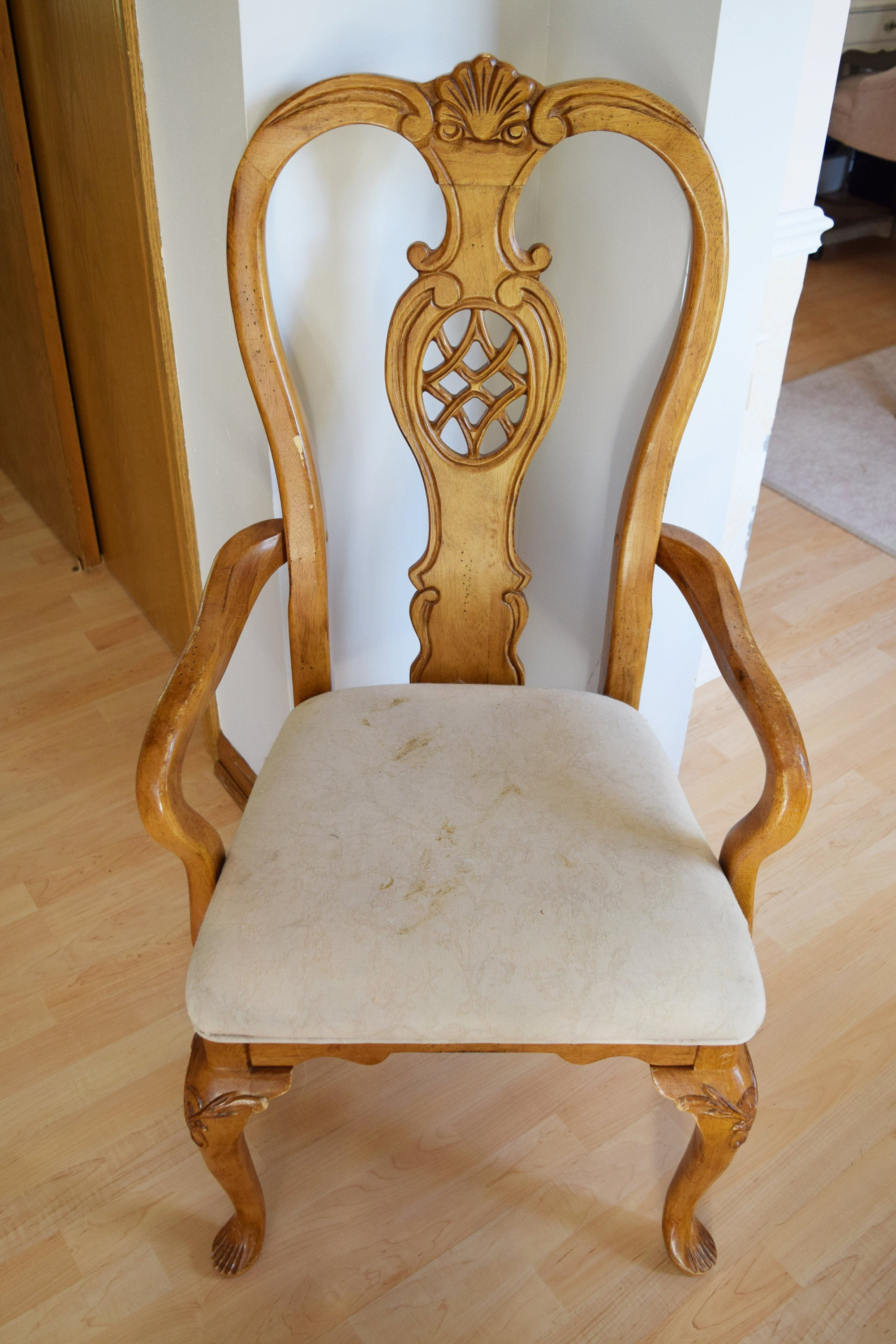our white chair full of dirt & years of staining from use.