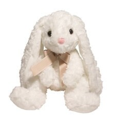 white stuffed bunny with floppy ears and tan ribbon