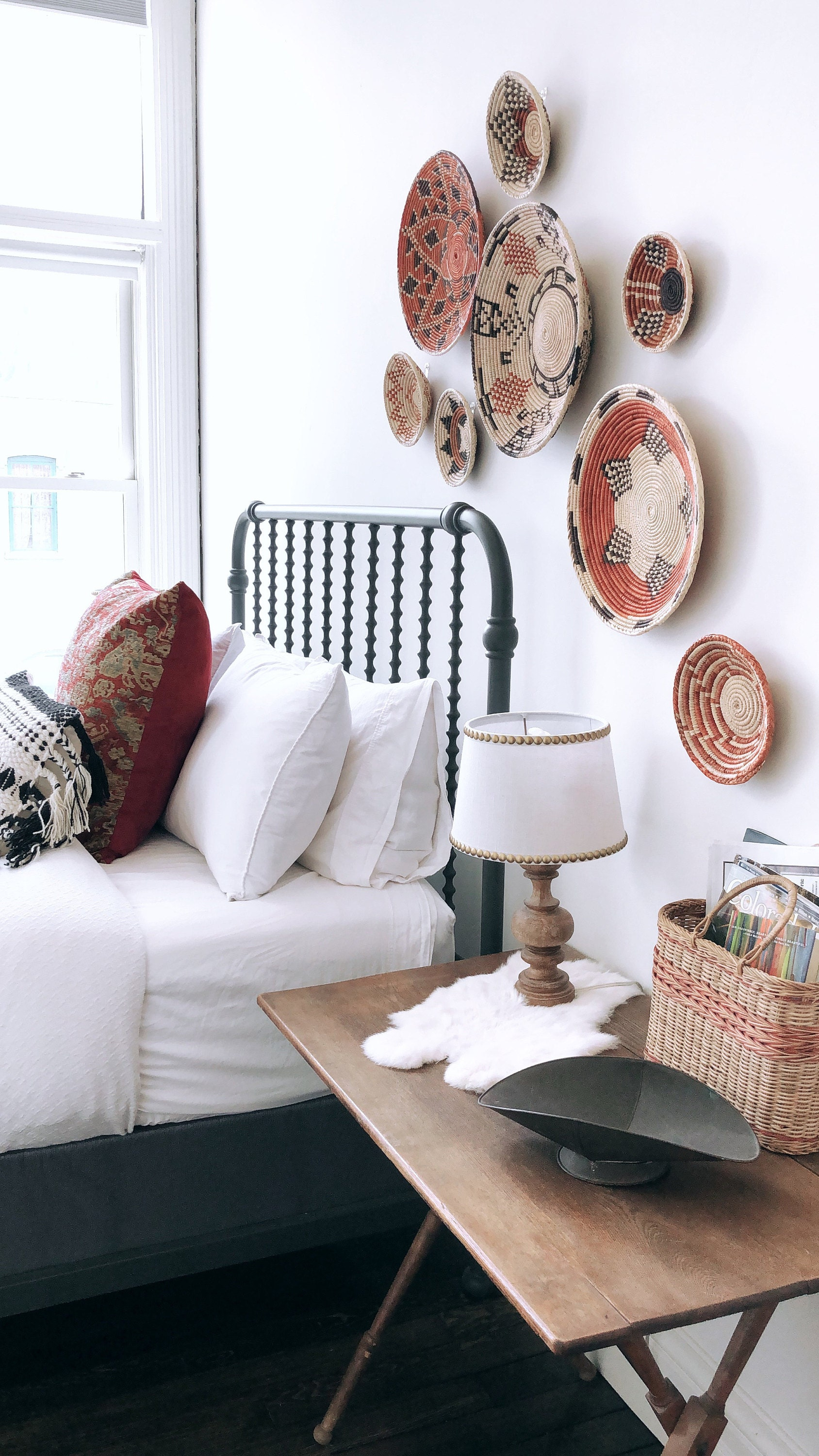 how to hang woven baskets on a wall