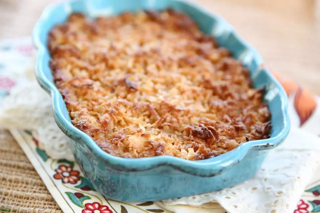 Candied Coconut Sweet Potato Casserole