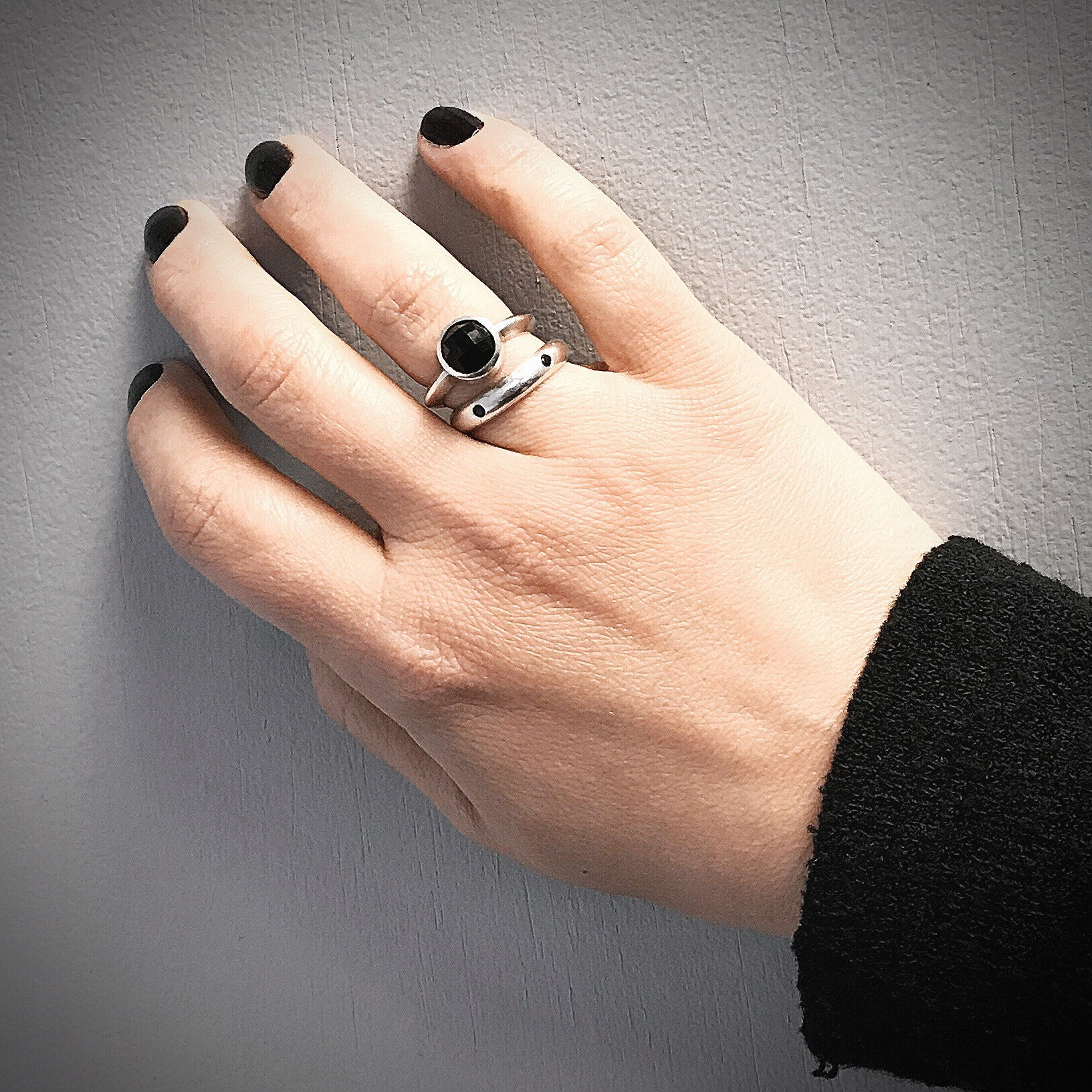 Black Spinel and Sterling Band, Rose Cur Black Onyx Ring