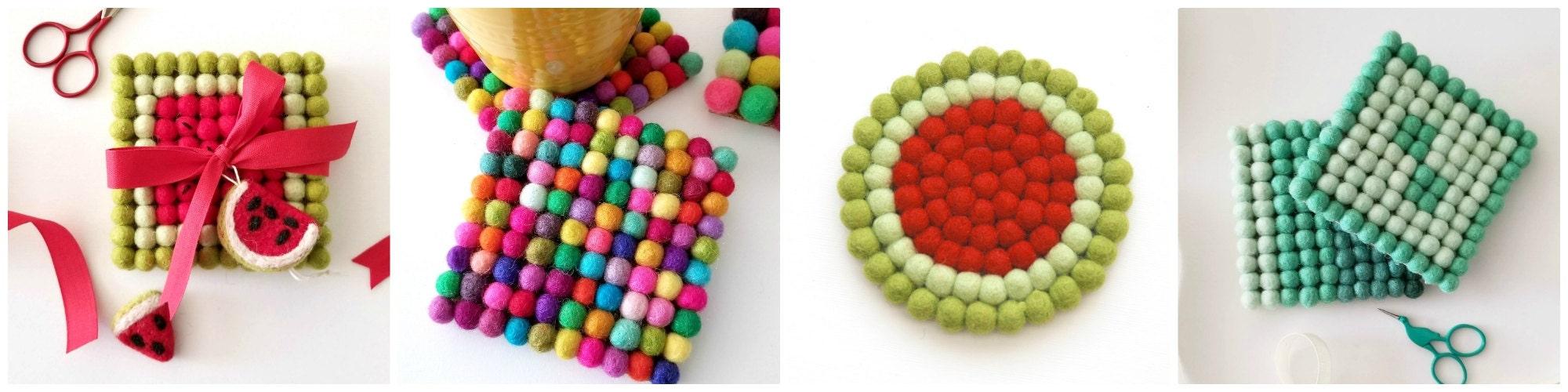 Felt Ball Coasters - Handmade