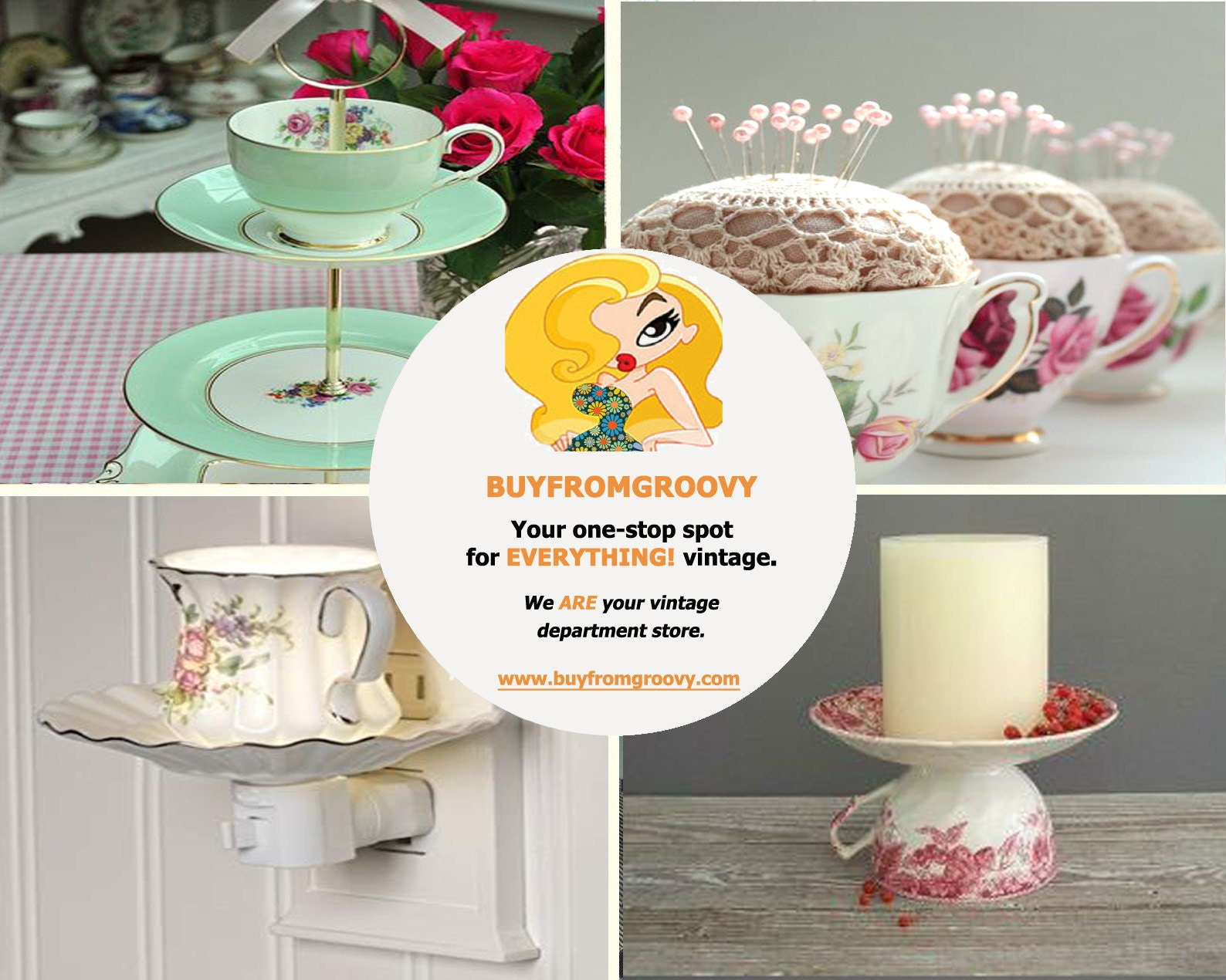 Many creative and beautiful uses for orphaned tea cups and saucers.