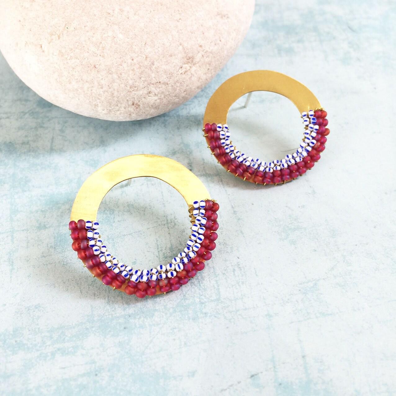 Beaded brass circle earrings