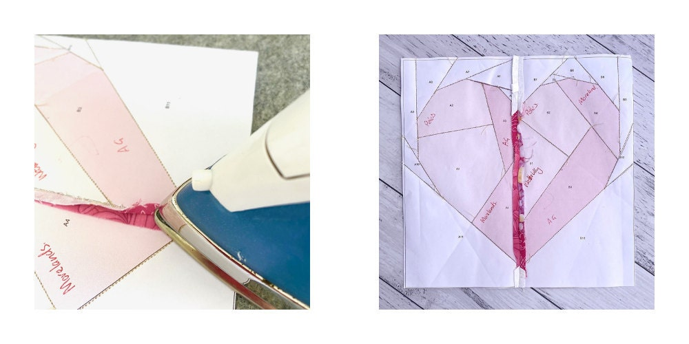 Iron pressing a seam open on a Heart shaped foundation paper pieced quilt block