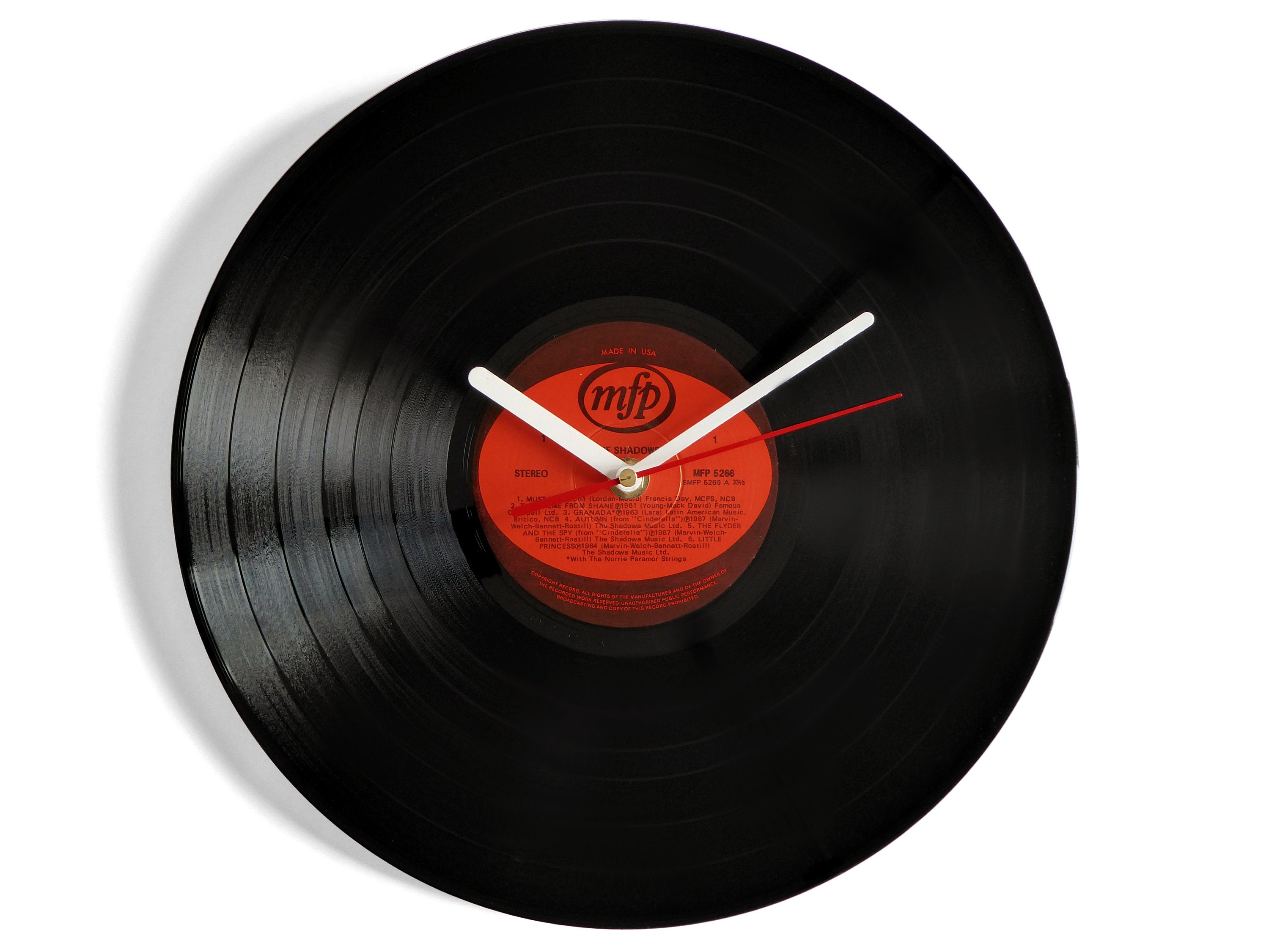 The Shadows Mustang Vinyl Record Wall Clock