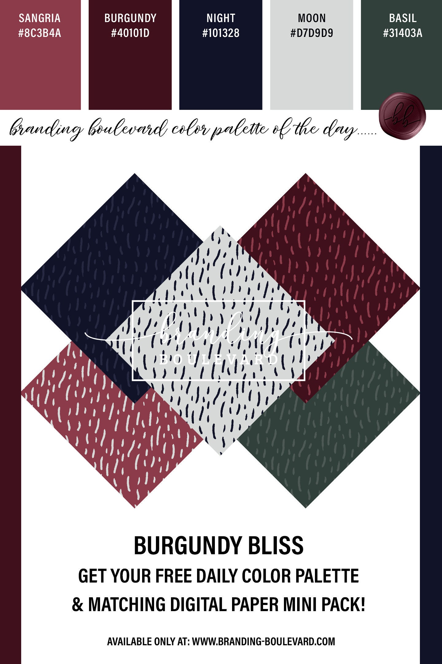 Free Burgundy Bliss Color Palette And Matching Abstract Trendy Digital Paper Pack - Abstract Lines Modern Digital Papers - Wine Burgundy Navy and Green Backgrounds For Free!