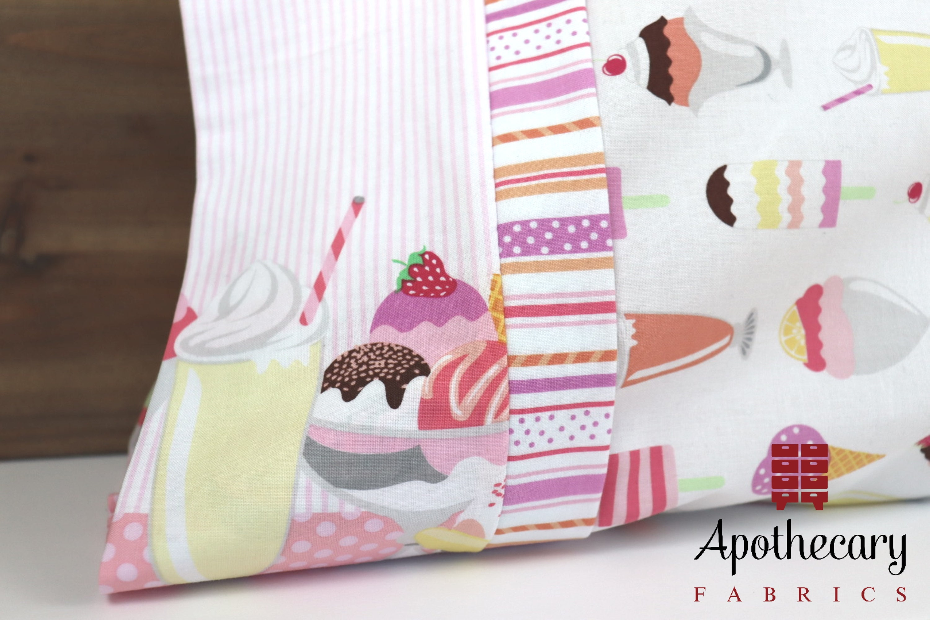 The cuff, accent piece and main body of the Perfect Pillowcase by Apothecary Fabrics.