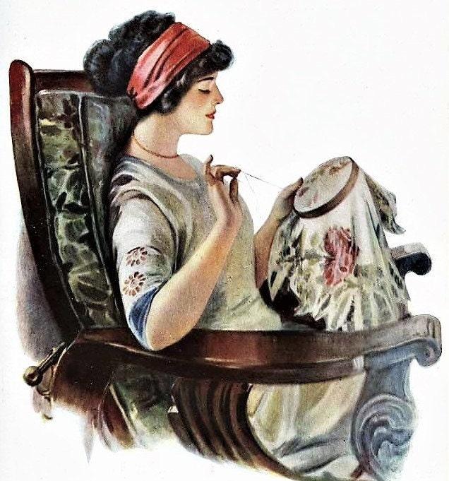 Lady Cross Stitching