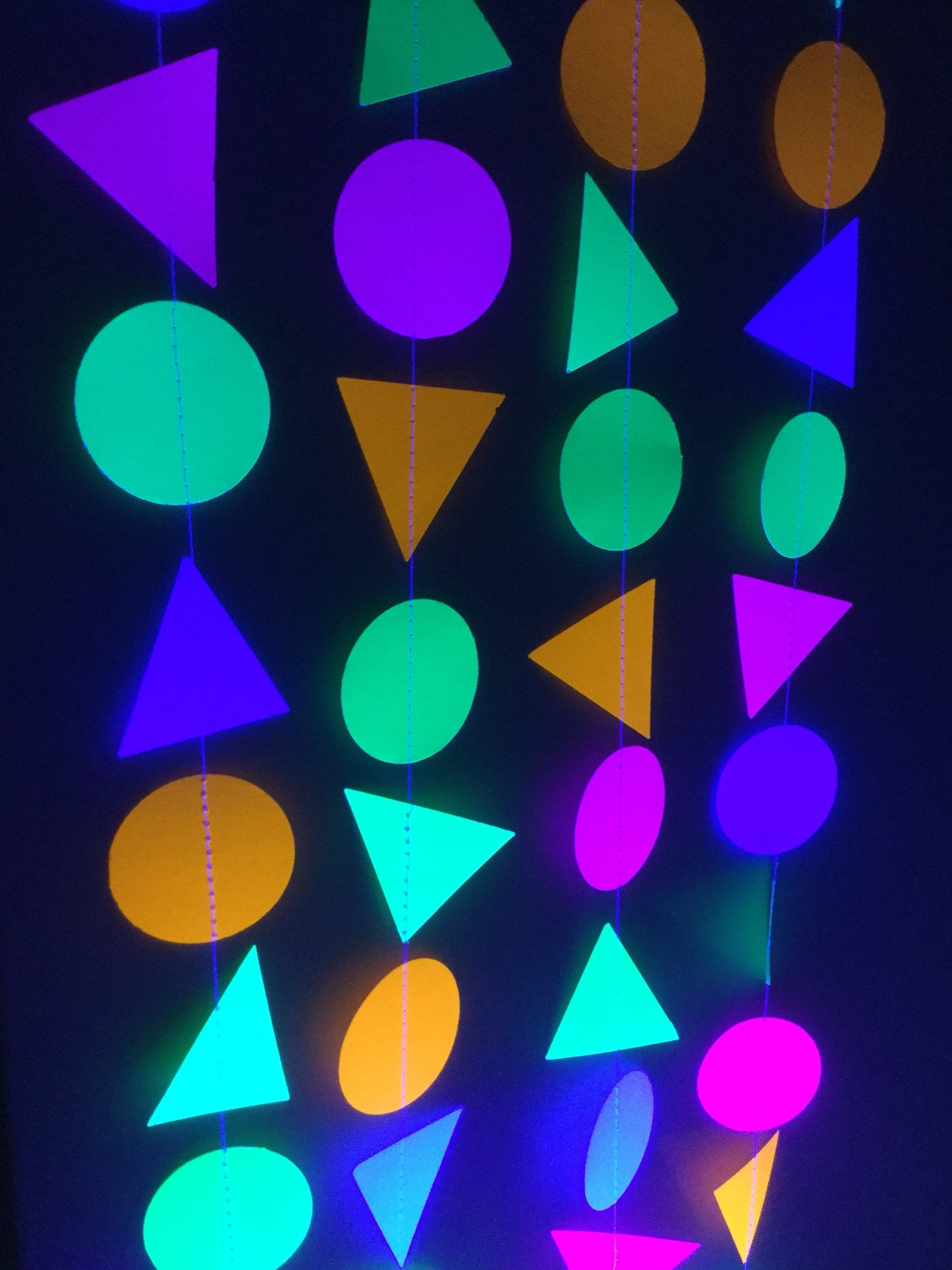 circle and triangle neon fluorescent garlands for glow black light party