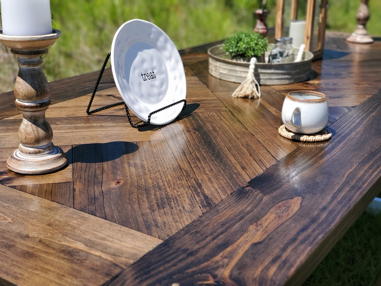 Farmhouse herringbone table