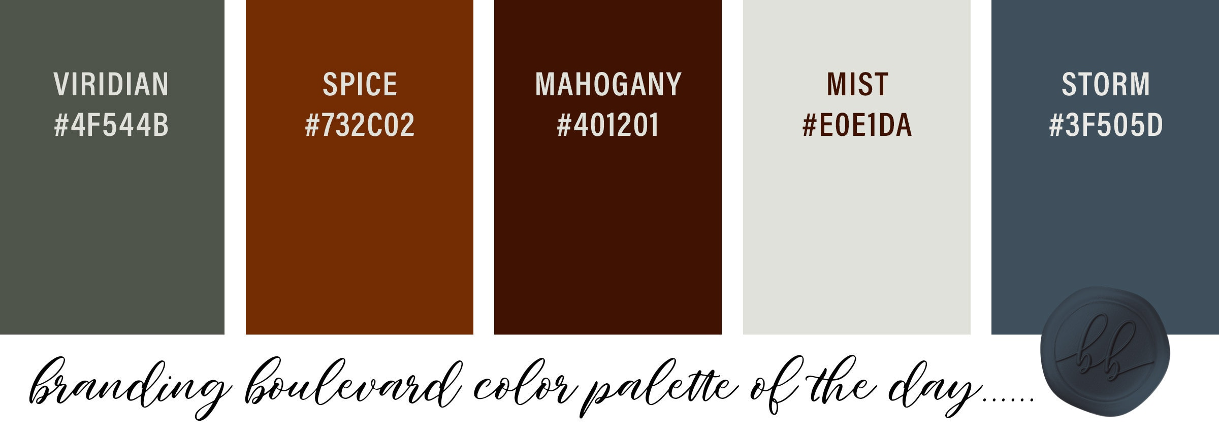 Autumn Spice Color Palette - Green Spice Rust Mahogany Ivory and Bluish Gray