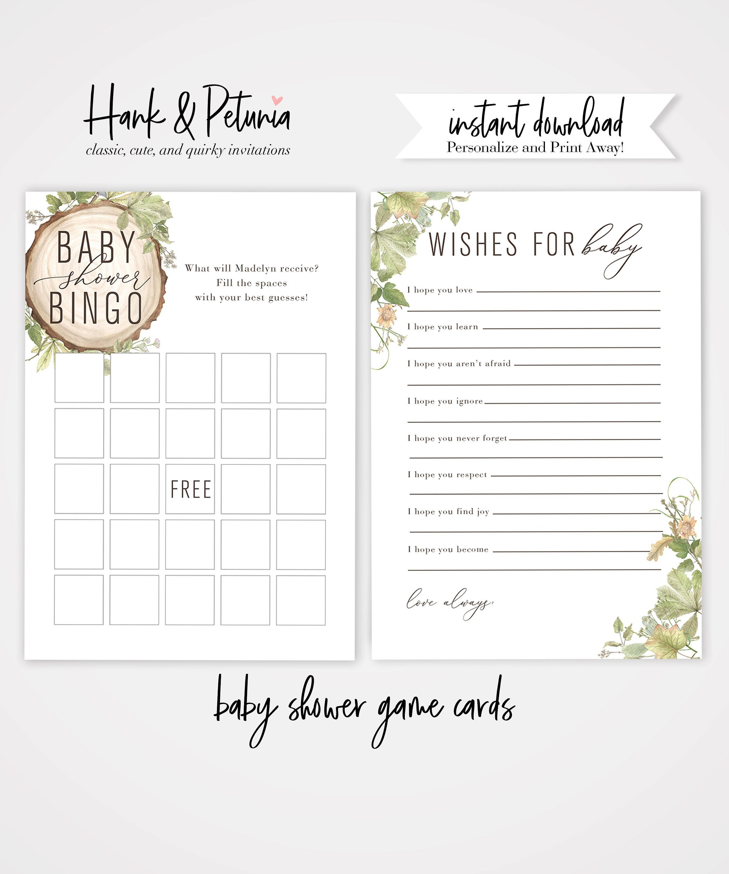 Rustic Woodland Baby Shower Game Cards and Wishes for Baby