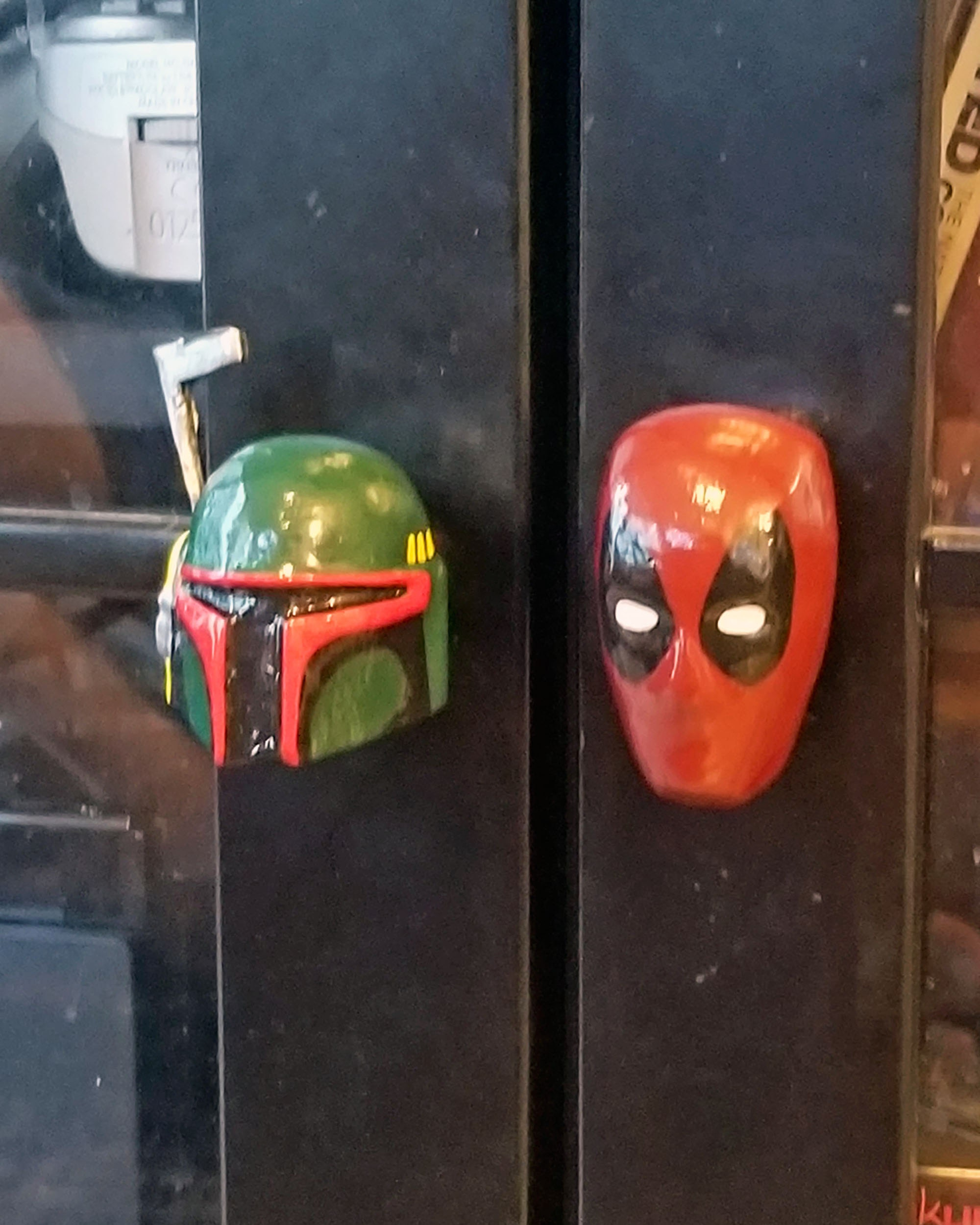 Marvel Deadpool Drawer Pull w/ Star Wars Boba Fett Cabinet Knob on Video Games Furniture Desk