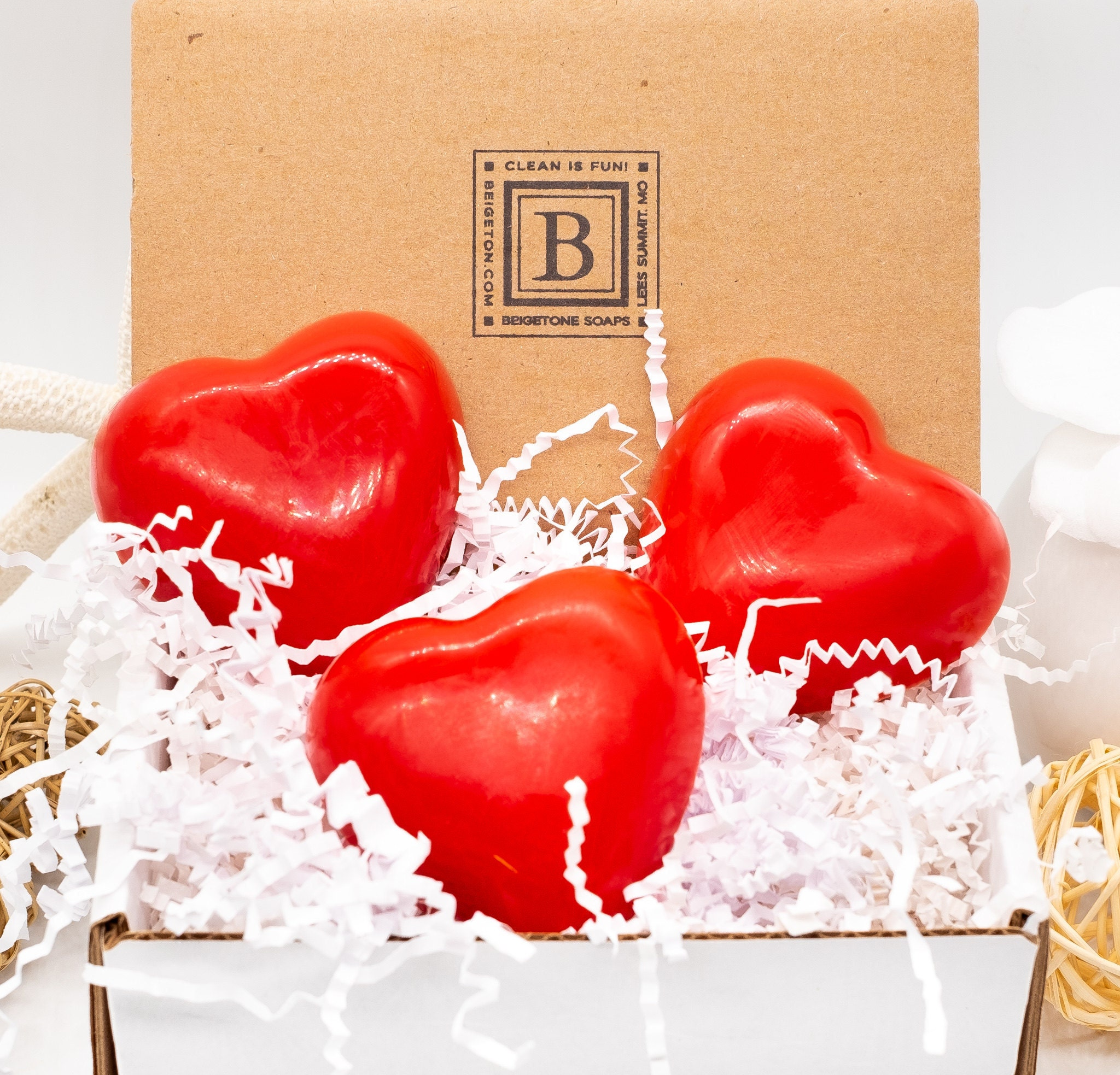 3 Red Heart Soaps