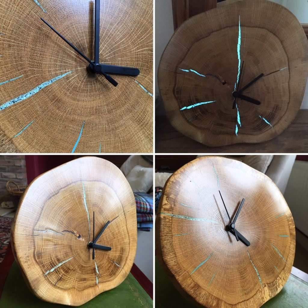 Glowing oak clock