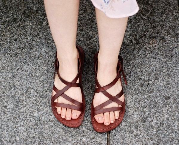strappy leather sandals for women