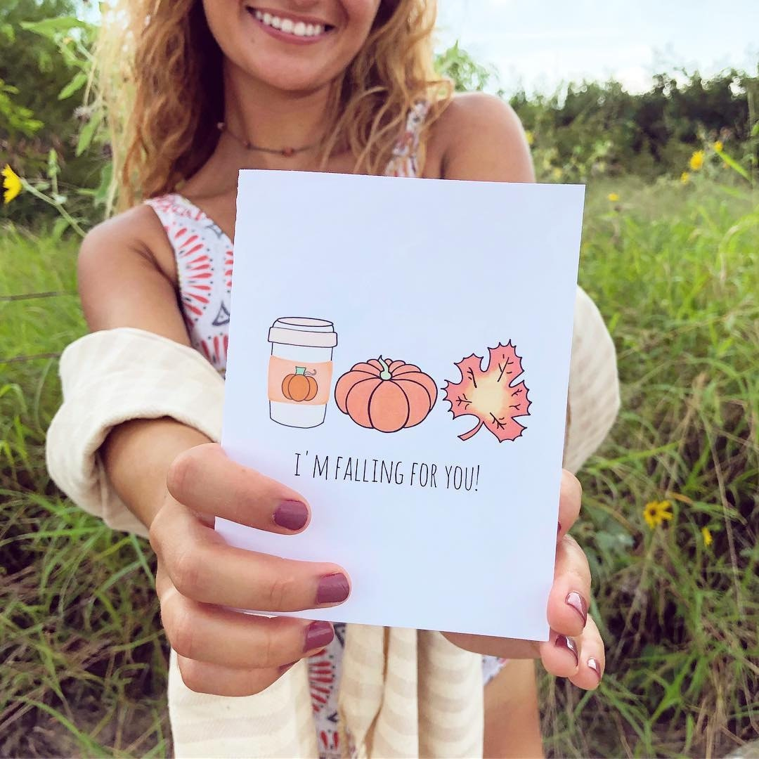 fall fashion, gifts, greeting cards, funny greeting cards, falling for you, collaboration, womenowned