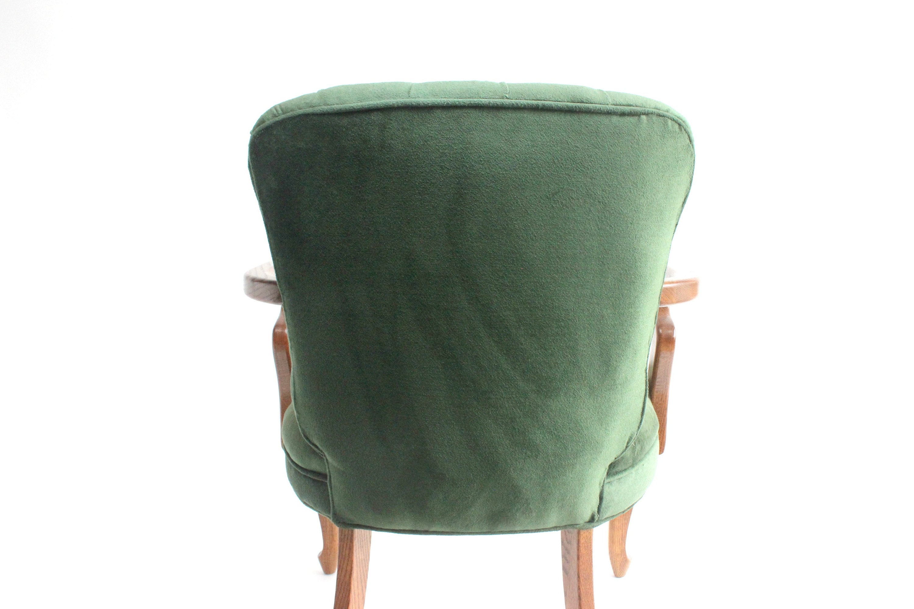 tufted green upholstered club chair