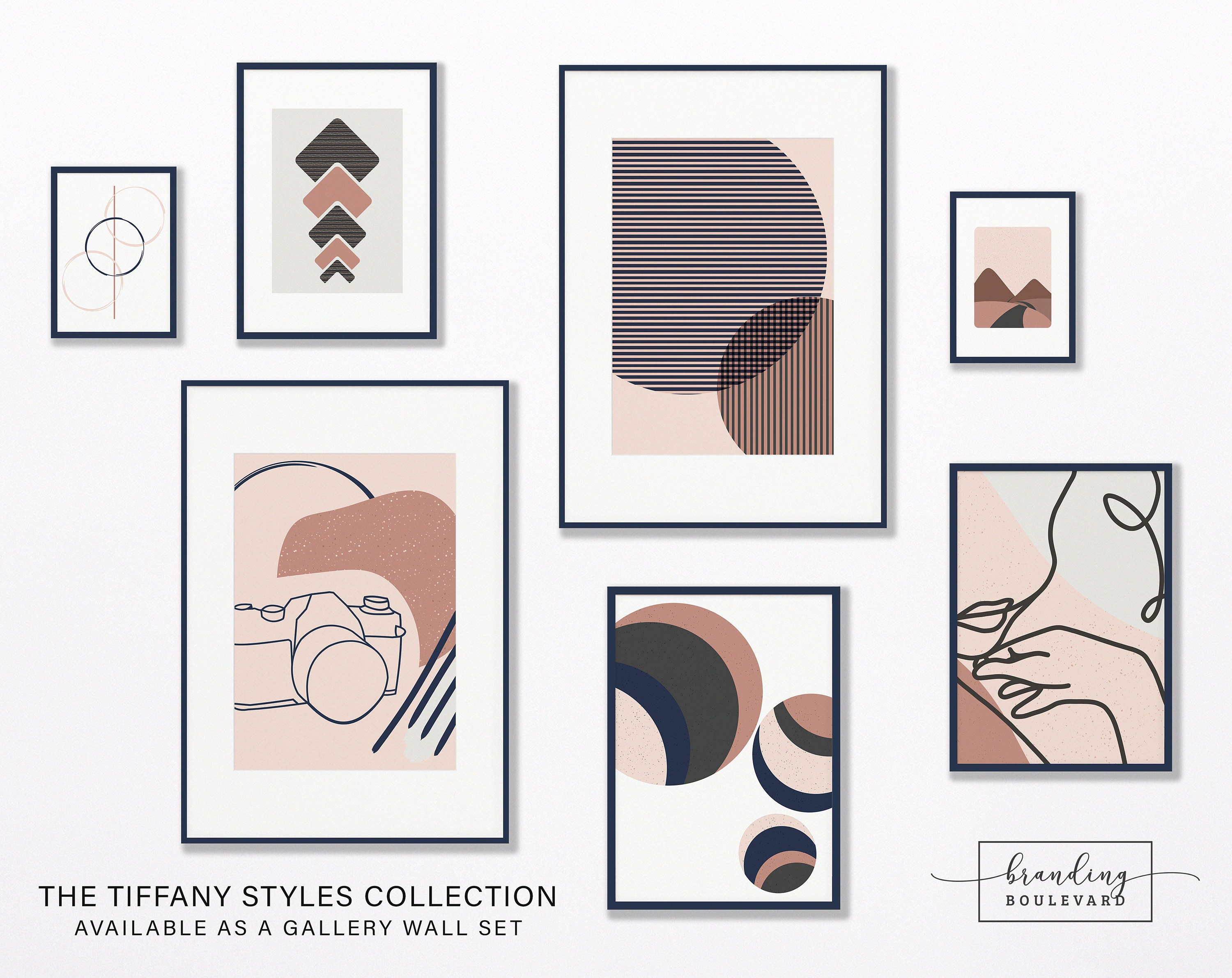 Tiffany Styles Art Print Collection - Abstract One Line Minimalist Artwork - Camera Female Figure Shapes and Landscape - In Navy Blue, Light Gray, Blush Pink, Dark Gray, and Rose Gold Color Palette