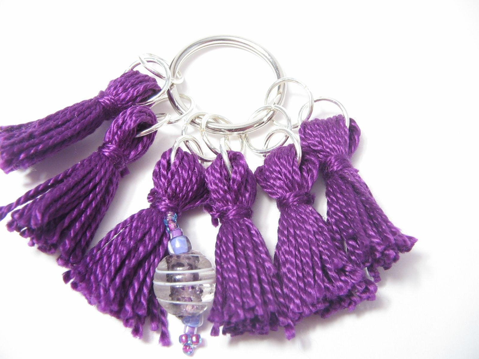 Dark purple stitch marker set (with beaded row marker) from Lizbeths Garden