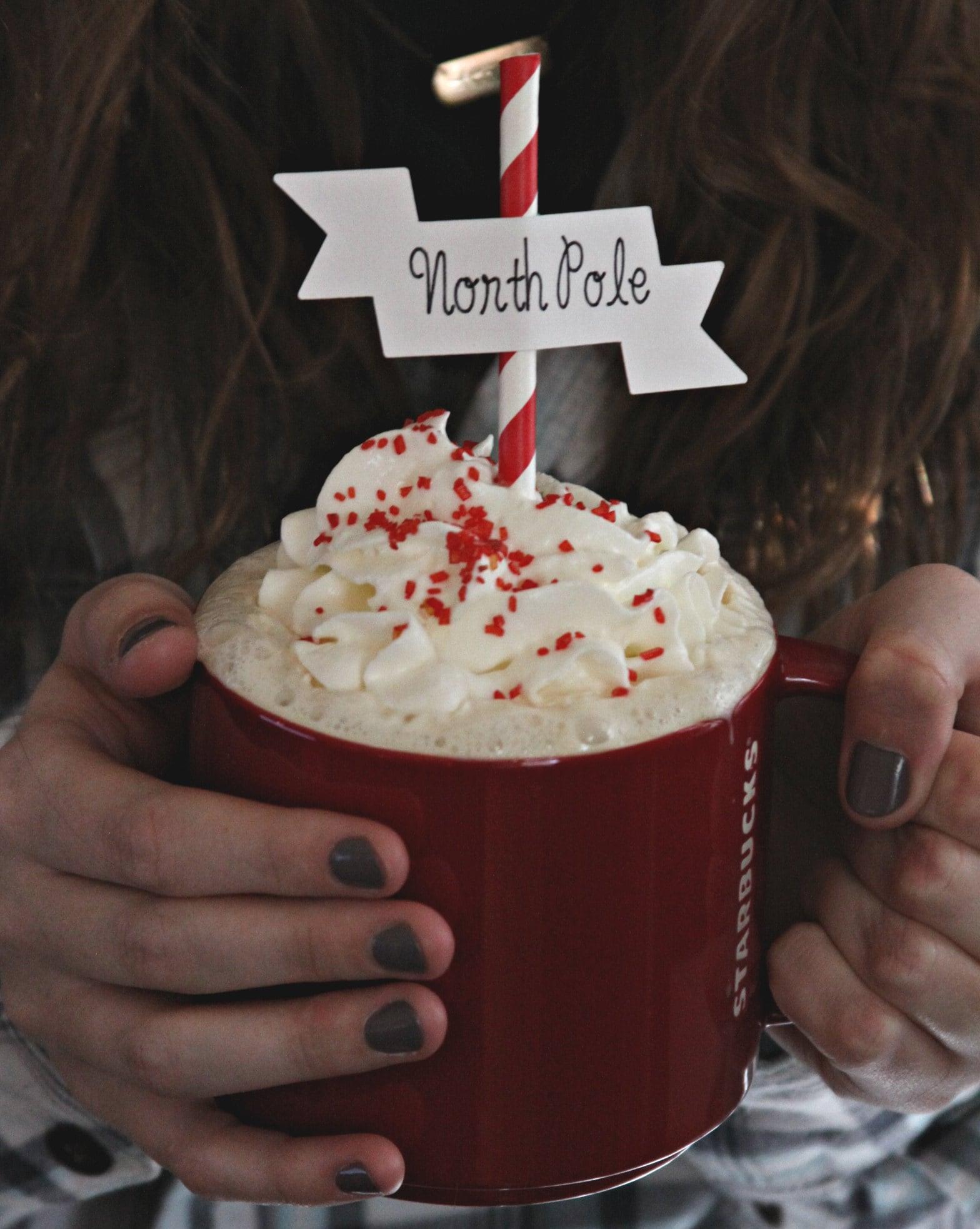 Hot Cocoa with a North Pole Cocoa Bar Topper