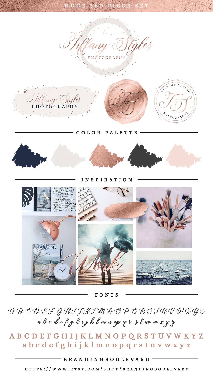 Rose Gold & Navy Blue Branding Package - Modern Brush Strokes, Wax Seal, & Brush Script Font