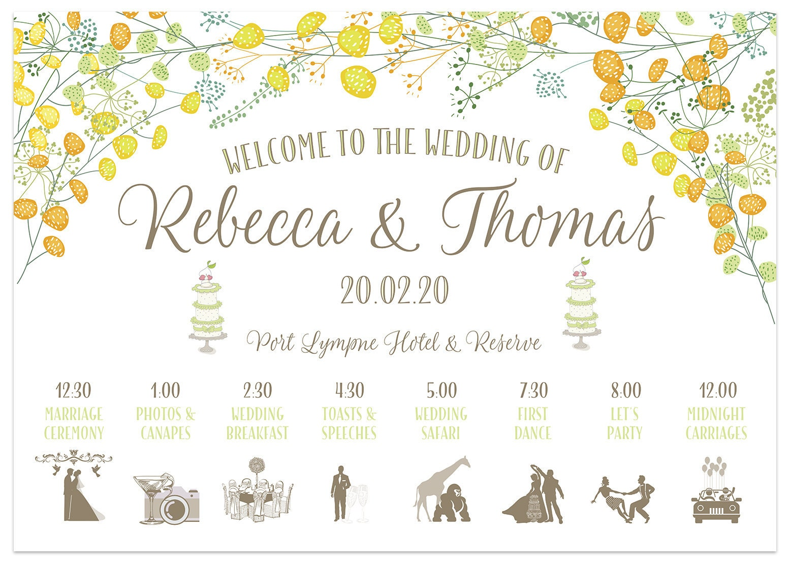 Yellow Floral Wedding Welcome