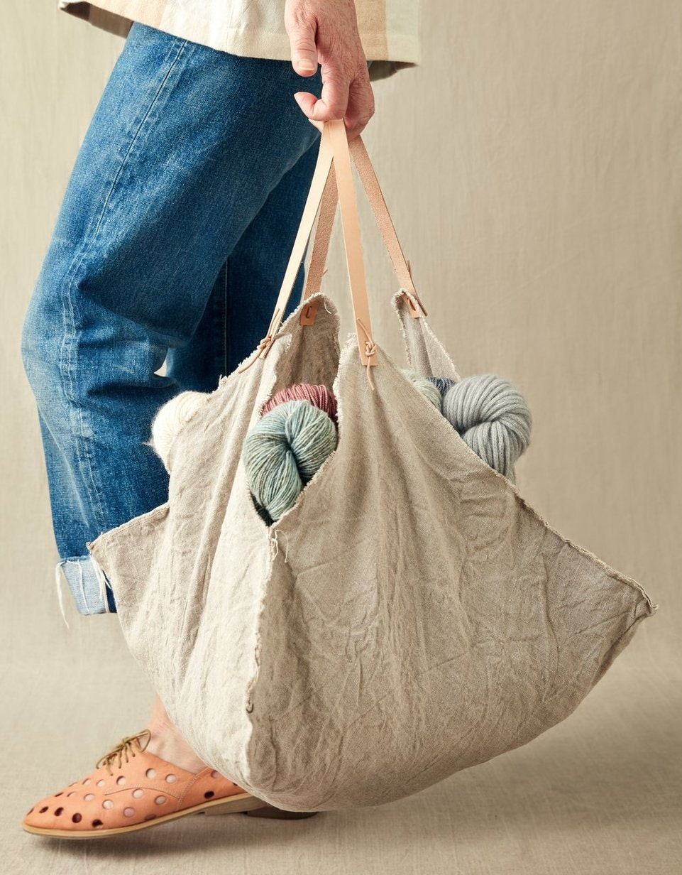 Cocoknits Four Corner Linen Bag with Leather Handles Large