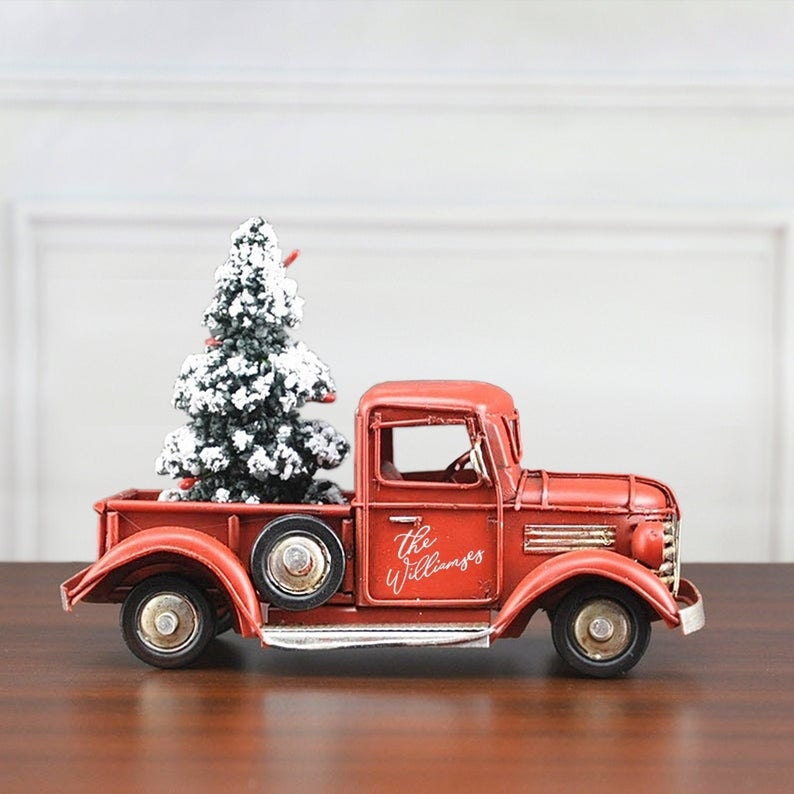 Personalized Red Christmas Truck