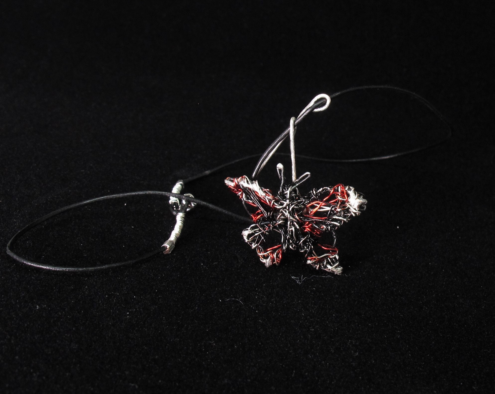 art jewelry, wire sculptures, red black butterfly wings