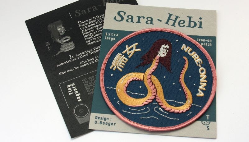 yokai snake woman iron on patch