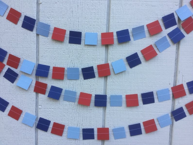 square garlands in red navy and light blue