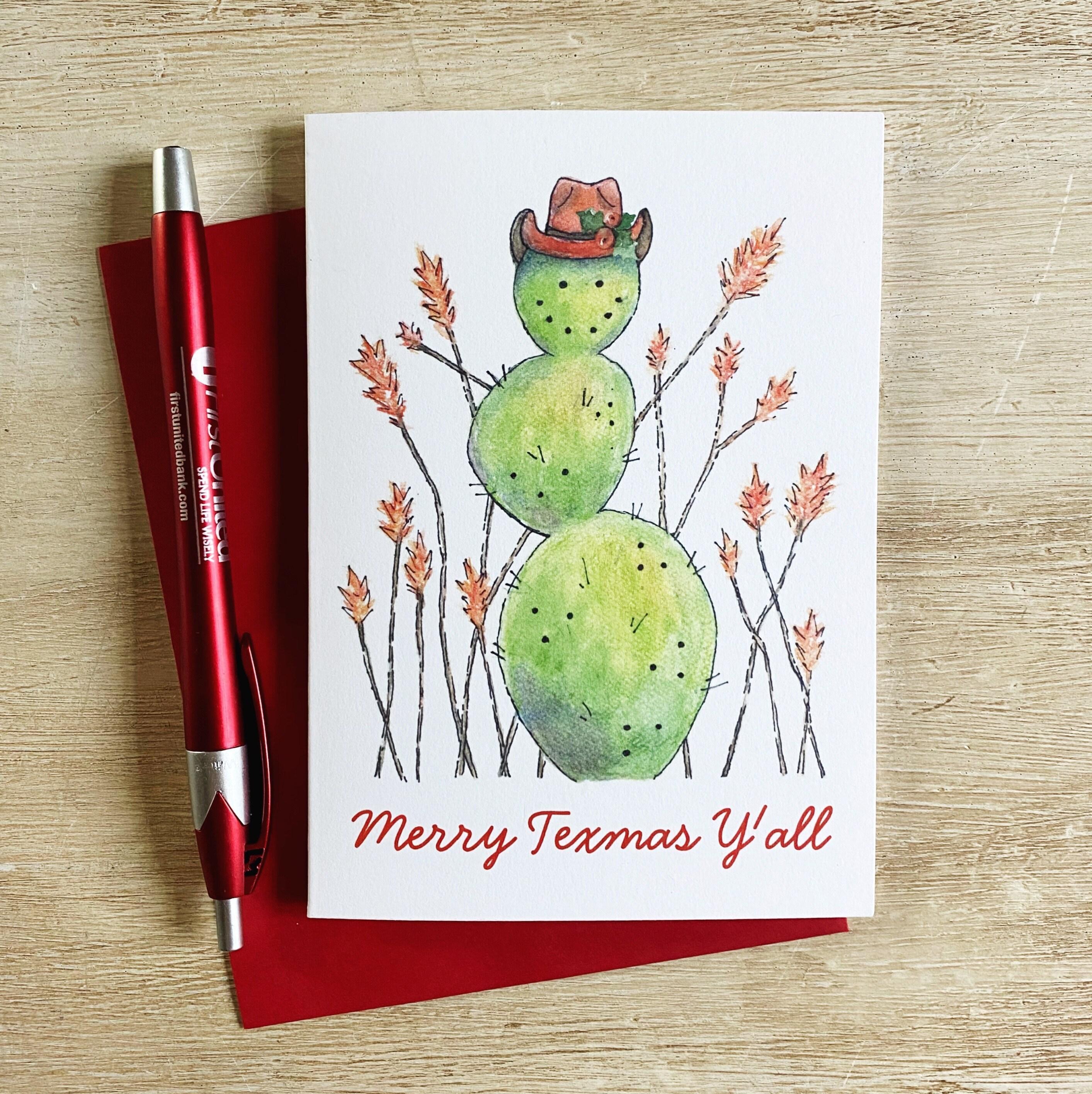 Cactus Snowman Christmas Greeting Card