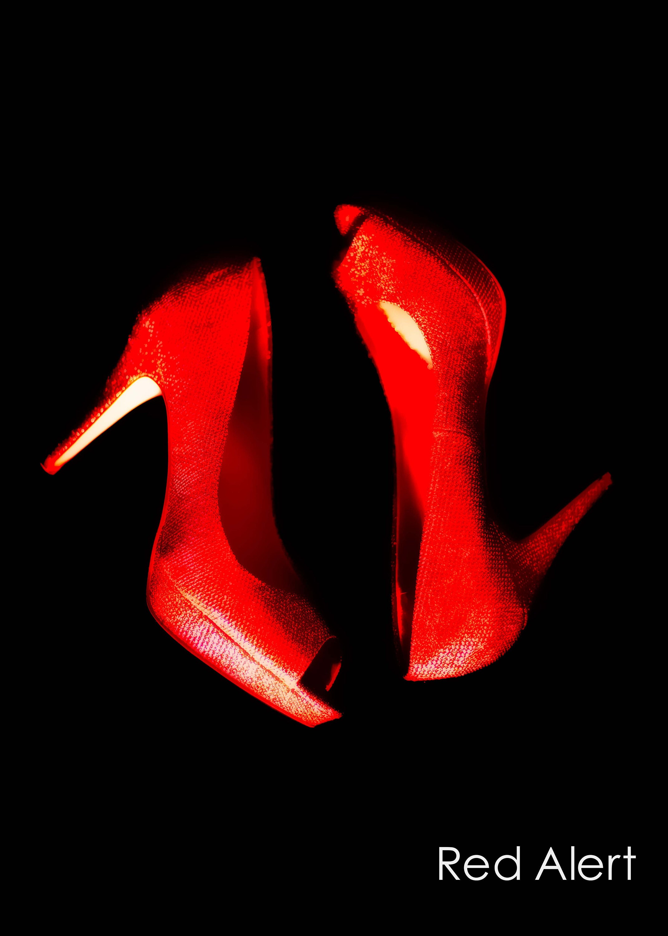 red stiletto high heeled shoe wall art and fine art prints- canvas, art panel, prints and box frames- custom sizes