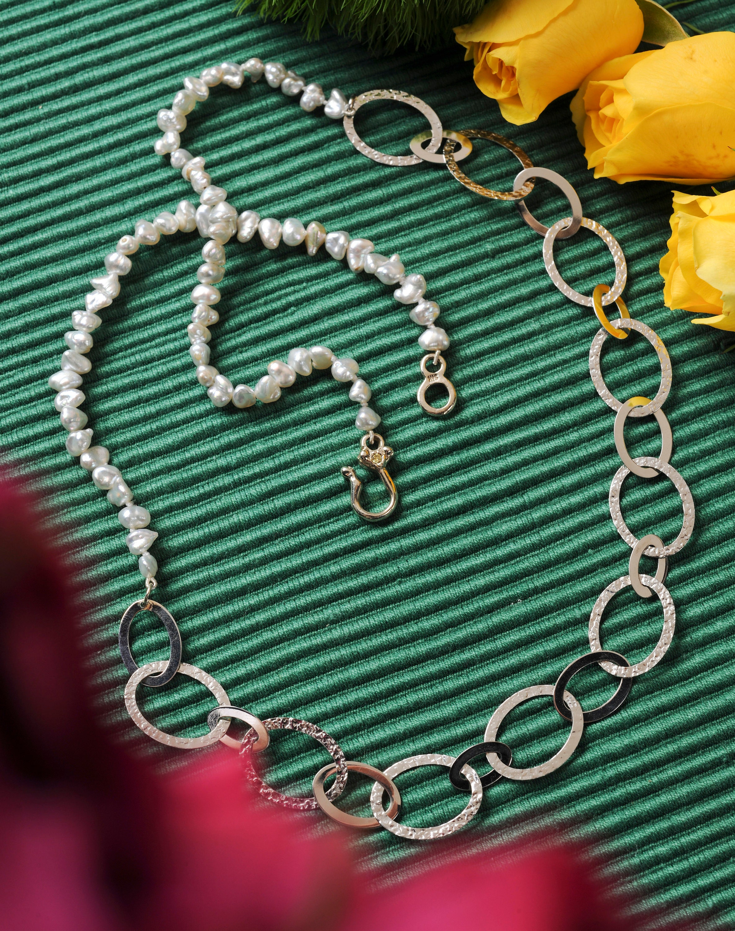 Pearl and 14k White Gold Necklace, Keshi Pearls, Handmade 14k white gold and diamond clasp