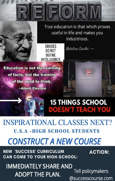 New class for USA schools, life success course, course for success high school students