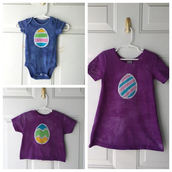 Easter egg dress and shirts by Peace, Baby! Batiks