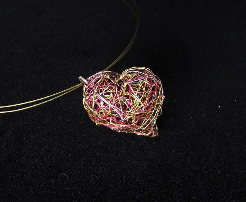 rainbow heart pendant, love necklace