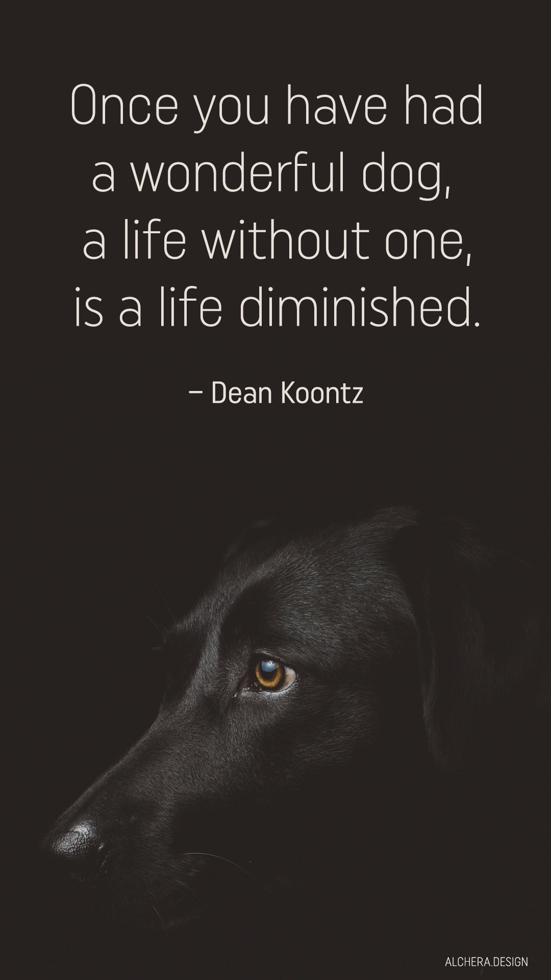 Once youve had a wonderful dog, a life without one is a life diminished.  Quote by Dean Koontz